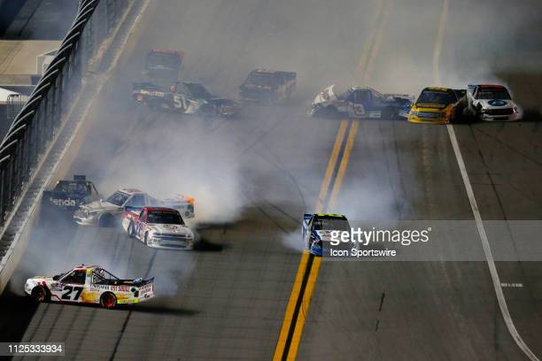 Several car crash including Myatt Snider driver of the ThorSport Racing Ford Sheldon Creed driver of the GMS Racing United Rentals/AMOrtega Chevrolet...
