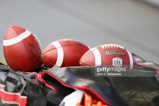 Several CFL balls on the sidelines during a game at BMO field on October 7 2017 in Toronto Ontario Canada Saskatchewan Roughriders defeated the...