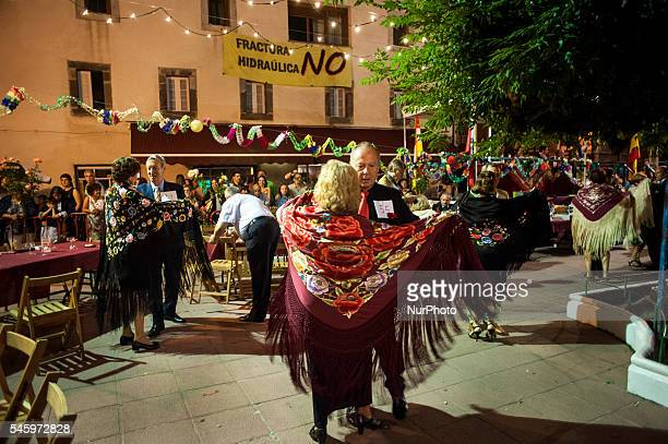Several couples dancing paso dobles waltz and chotis in the Plaza de Ramales de la Victoria during verbena shawl on July 10 2016 VERBENA SHAWL in...