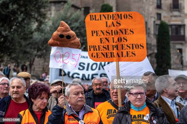 Several demonstrators are seen among carrying posters calling for decent pensions Hundreds of retirees and pensioners have demonstrated in the...