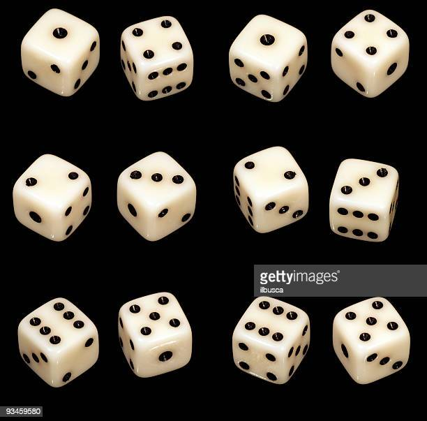 Several dice combinations and orientations on black