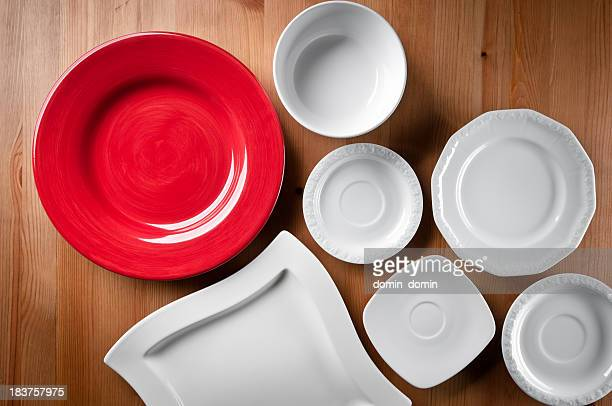 Several different empty plates