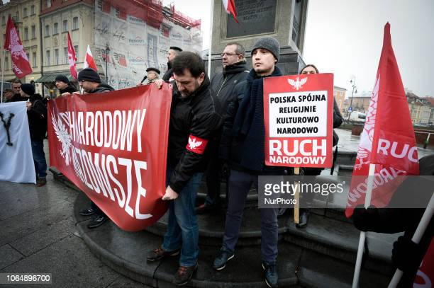 Several dozen members of the National Radical Camp demonstrate against immigration in Warsaw, Poland on November 24, 2018. The National Radical Camp...