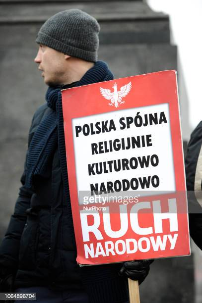 Several dozen members of the National Radical Camp demonstrate against immigration in Warsaw Poland on November 24 2018 The National Radical Camp is...