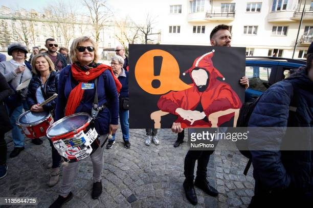 Several dozen people including teachers and union members are seen reallying in front of the Ministry of Education on April 6 2019 in Warsaw Poland...