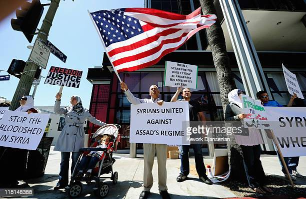 Several dozen protesters hold a demonstration against the Syrian regime in front of the CNN Los Angeles building on June 3 2011 in Los Angeles...