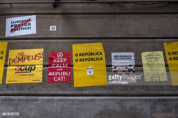 Several election posters on the wall of one of the streets of Ciutat Vella in Barcelona Since 2nd December 2013 when the catalan Government chaired...