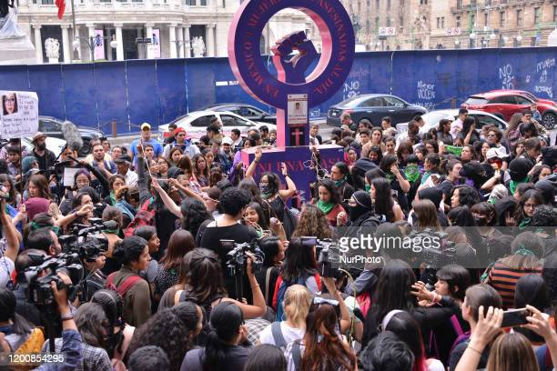 Several feminist demonstrators take part a protest against genderbased violence against of women after the murder of Ingrid Escamilla stabbed to...