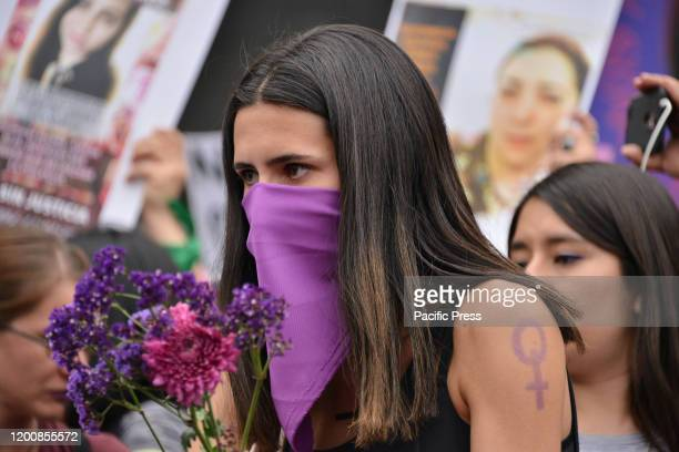 Several feminist demonstrators take part in a protest against gender-based violence against women after the murder of Ingrid Escamilla stabbed to...