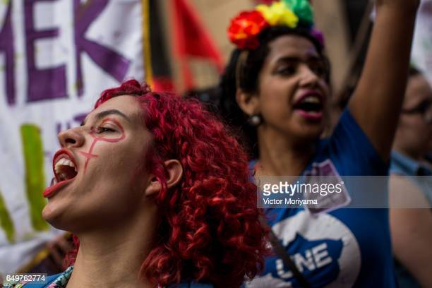 Several feminist groups protest against the Michel Temer government during a big march on Women's Day on March 8 2017 in Sao Paulo Brazil Among the...