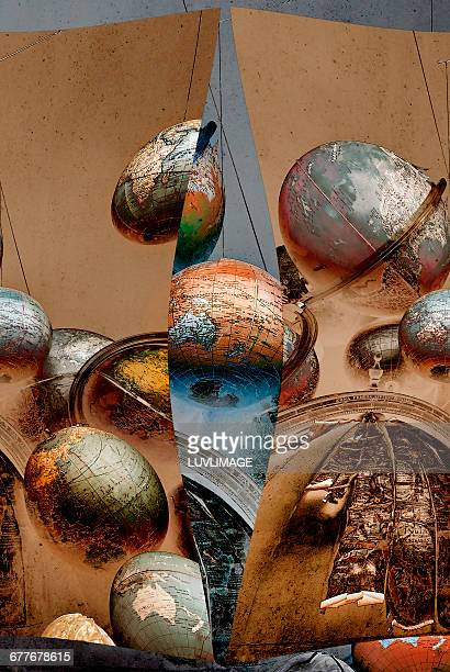 several globes in compostion. - medium group of objects stock pictures, royalty-free photos & images