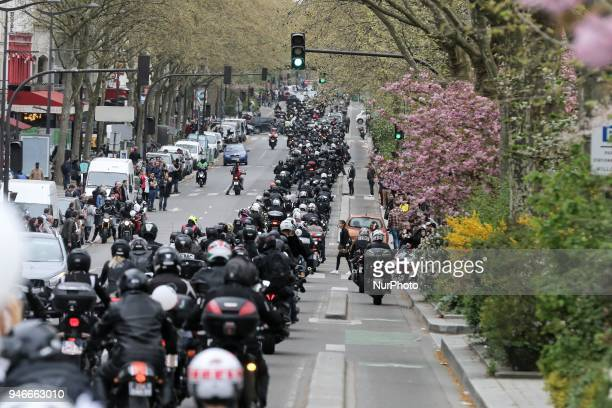 Several hundred bikers and motorists take part in a demonstration in the streets of Paris organized by French Federation of Angry Bikers and 40...