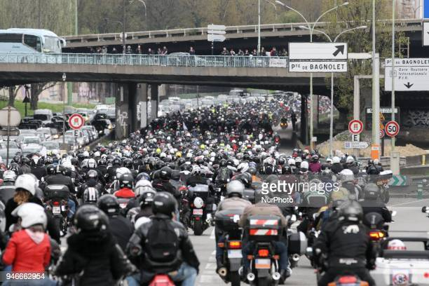 Several hundred bikers and motorists take part in a demonstration on the Paris ring road organized by French Federation of Angry Bikers and 40...