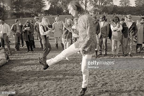 Several hundred hippies gathered at Hippie Hill in golden Gate Park for a happening at which several bands played rock n' roll music Most of the...