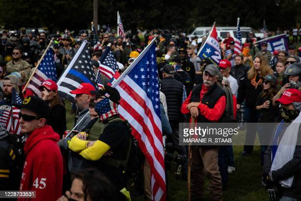 Several hundred members of the Proud Boys and other similar groups gathered for a rally at Delta Park in Portland, Oregon on September 26, 2020. -...