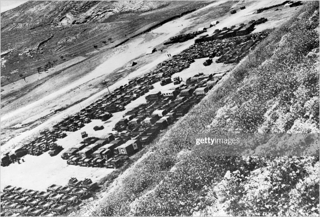 Several hundred of Allied Arab forces trucks, tanks and armored vehicles are parked at the Israeli-Arab border 10 May 1948 before the offensive against Jews in Palestine. The 1948-49 first Israeli-Arab War reflected the opposition of the Arab states to the formation of the Jewish state in what they considered to be Arab territory. As independence was declared 14 May 1948, Arab forces from Egypt, Syria, Transjordan (later Jordan), Lebanon and Iraq invaded Israel.