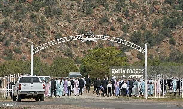 Several hundred people attend a funeral in Colorado City Arizona April 21 2006 Thousands of polygamists from the Fundamentalist Church of Jesus...