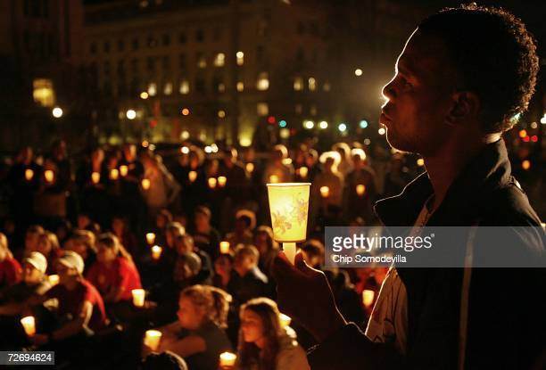 Several hundred people gather in Freedom Plaza for a candlelight vigil to remember those who have died of AIDS on World AIDS Day December 1 2006 in...