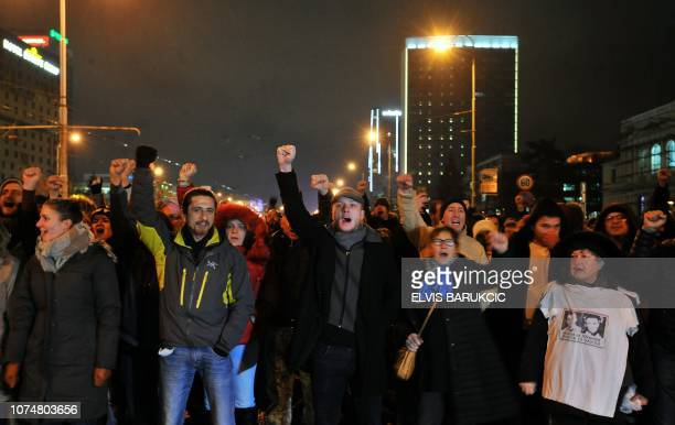 Several hundred Sarajevo residents gather in the centre of Sarajevo late on December 25 in a show a solidarity with protesters in the northwestern...
