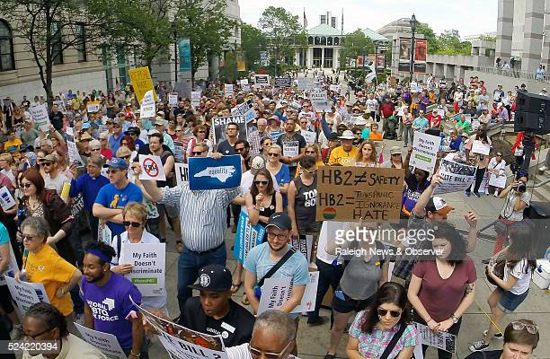 Several hundred supporters from the Moral Monday group crowd the Bicentennial Mall in support of repealing HB2 in Raleigh NC on Monday April 25 2016
