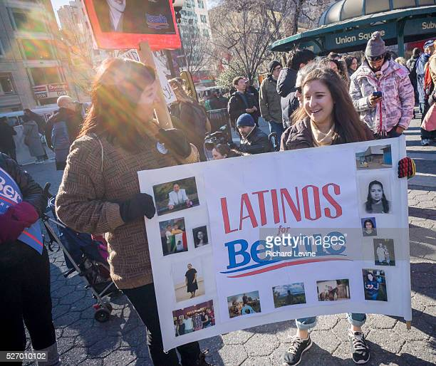 Several hundred supporters of presidential candidate Bernie Sanders rally in Union Square in New York on Saturday, February 27, 2016.
