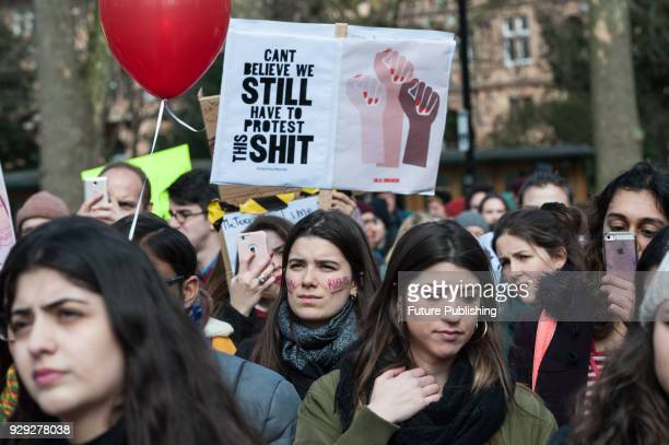 Several hundreds of women take part in Women's Strike in London's Russel Square protesting against harassment, exploitation and discrimination...