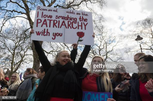 Several hundreds of women take part in Women's Strike in London's Russel Square protesting against harassment exploitation and discrimination...