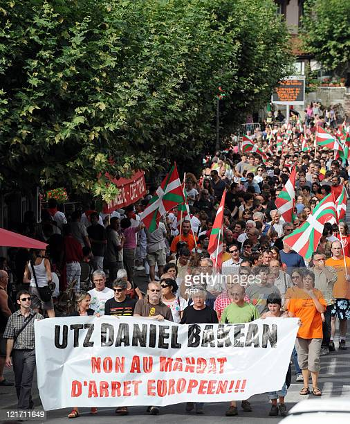 Several hundreds people demonstrate on August 15 2011 in SaintJeanPieddePort southern France in support to Daniel Derguy a former member of banned...