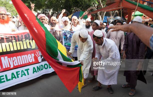 Several Islamist political organization in Bangladesh bring out protest rally and burn Myanmar flag in Dhaka from the Baitul Mukarram National Mosque...