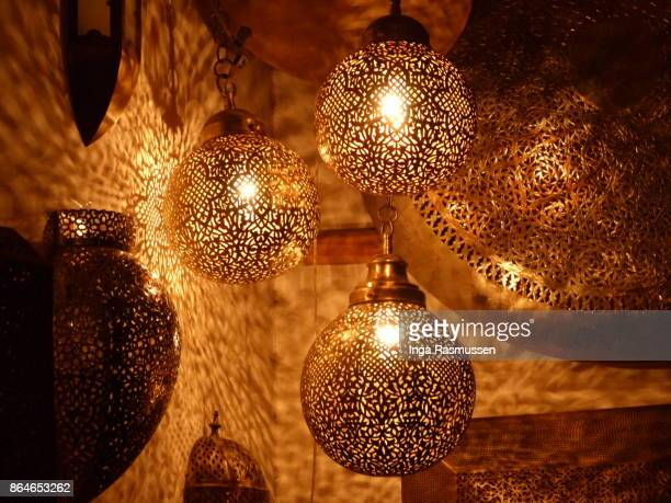 several lanterns on display in the souk, marrakesh, morocco - souk stock pictures, royalty-free photos & images