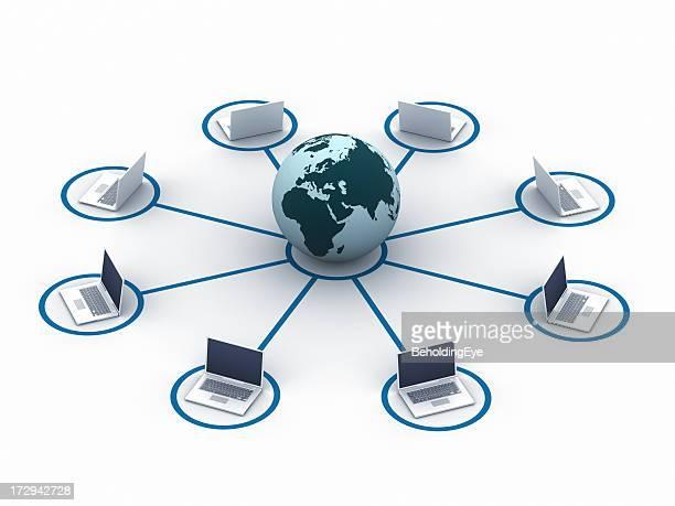 ノートパソコンのネットワーク(ヨーロッパ、アフリカ、アジア XXL )