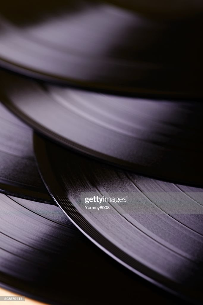 Several LP records on table : Stockfoto