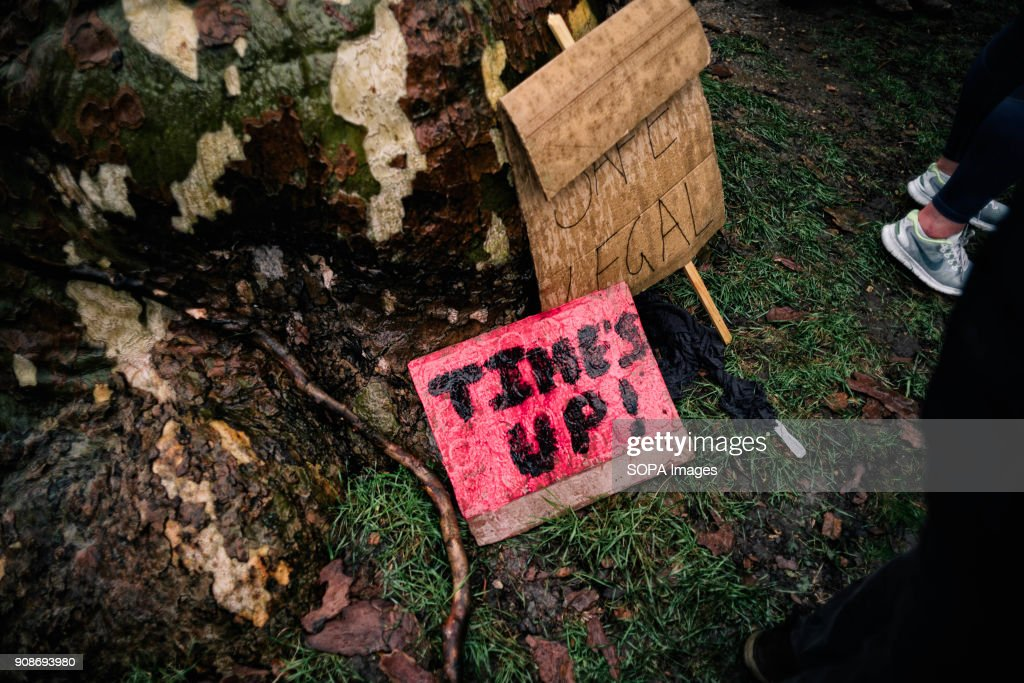 Several placards and poster lying down the floor seen during... : News Photo