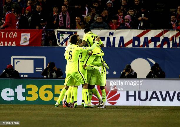 Several players of Barcelona Celebrates a goal during the Spanish Kings cup 2014/15 match between Atletico de Madrid and FC Barcelona, at Vicente...
