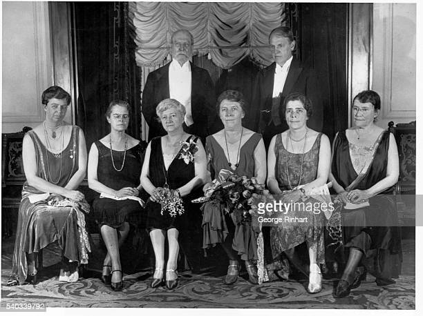 Several political and education leaders pose for a portrait at the dinner of seven colleges at the Hotel Astor in New York City. Front row, left to...