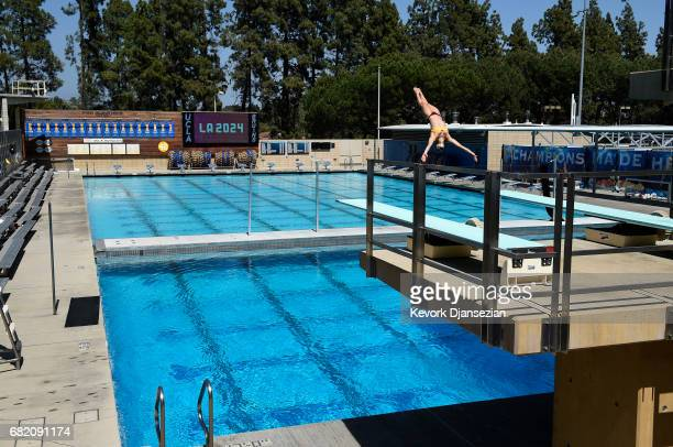 Several pool facilities on the campus of University of California at Los Angeles that would be a part of the the Athletes Village is shown during...