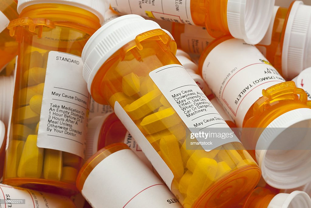 Several Prescription Pill Bottles in a Pile : Stock Photo