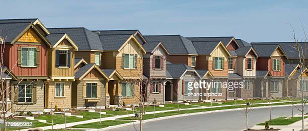 several row houses - terraced_house stock pictures, royalty-free photos & images