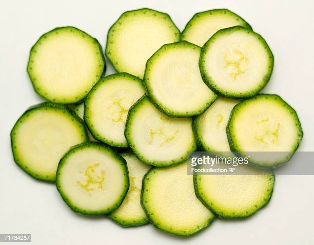 Several slices of courgette