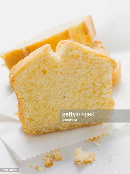 Several slices of lemon cake
