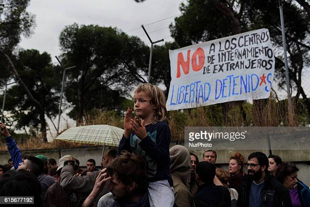 Several social groups protest opposite to the Immigrant detention centre in Aluche Madrid on October 19 2016 The civil protest held after the riot of...