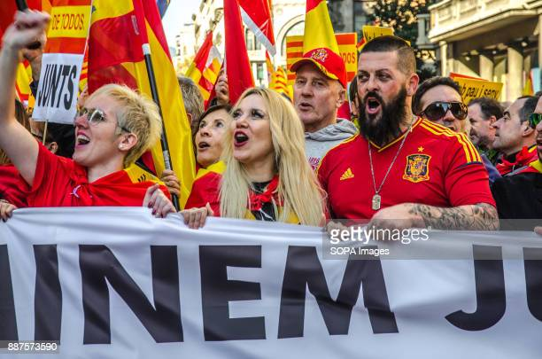 Several Spanish loyalist Protesters greet passing by the Spanish police headquarters Spain celebrates today the 39 anniversary of its Constitution...