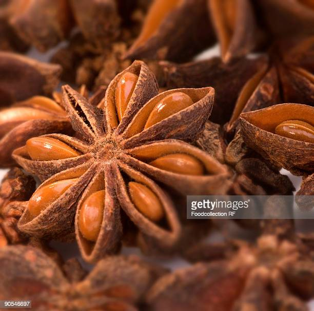 Several star anise, close up