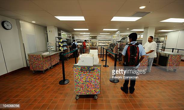 Several students pick up breakfast in the cafeteria of the newly opened Robert F Kennedy Community Schools complex on September 13 2010 in Los...