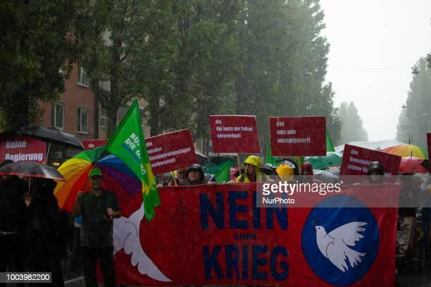 Sign against the CSU SOeder and the PAG Several ten thousands people demonstrated in Munich Germany on 22 July 2018 against the politics of the CSU...