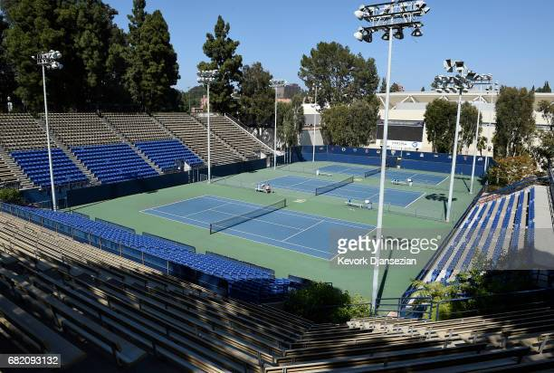 Several tennis courts on the campus of University of California at Los Angeles that would be a part of the the Athletes Village is shown during media...