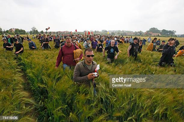 Several thousand activists of the anti G8 forum Block G8 demonstrate in a field on June 06 2007 near Rethwisch close to Heiligendamm The activists...