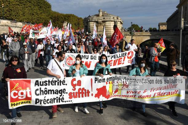 Several thousand people demonstrate on October 9 2018 in Montpellier southern France during a day of interprofessional mobilization against the...