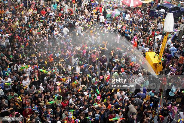 Several thousand people take part in a water fight during the Songkran water festival in Silom Road in Bangkok The Songkran Festival runs from 13 to...