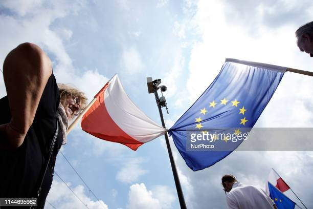 Several thousand people take part in the Poland in Europe march in Warsaw Poland on May 18 2019 Many Poles are divided in their support for continued...